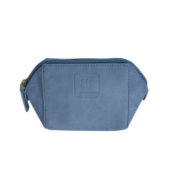 Imitation Leather Cosmetic Purse - Periwinkle Blue